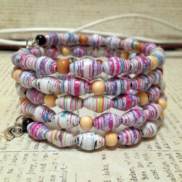 Handmade Paper bead bracelet, Silver charms, Bangle bracelet, Fashion trend, Comfortable and lightweight