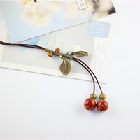 Unique Leather Chain Ceramic Beads Long Pendant Necklace