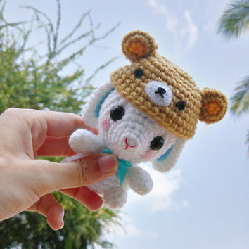 Amigurumi Crochet doll Bunny with rilak hat Key Chains