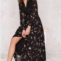 Black Long Sleeve Floral Print Maxi Dress