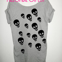 SKULL skulls skully unique ladies punk rock women off the shoulder biker t shirt reg. and plus size