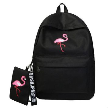 University College Backpack Meloke 2017 Flamingo Embroidery  set Canvas Unisex   Students School Bag Travel  MN902AT_63_4