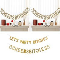 Gold Sparkly Let's Party Bitches&Cheers Bitches Photo Backdrop Birthday Party Banner Bachelorette Party Banner Party Decorations