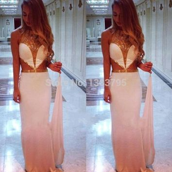 Elegant Halter Gold Sequin Mermaid Prom Dresses Long Sexy Backless Free Shipping 2016 New Formal Evening Pageant Gowns