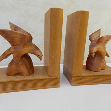 Book holders, book ends, bookends, wood book ends, sculpture book holder, eagle sculpture, home decor, vintage book holders, cute