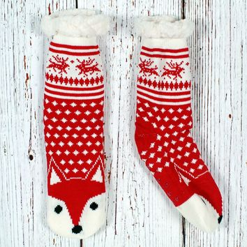 Todd the Fox Sherpa Lined Socks by Nordic Fleece