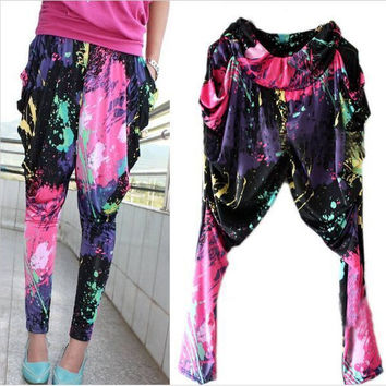VIP New Fashion Brand Jazz harem women hip hop pants dance doodle spring and summer loose neon patchwork candy colors sweatpants FREE SHIPPING