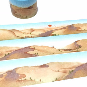 desert camel washi tape 5Mx 3cm desert landscape desert theme desert sand desert travel wide Masking tape nature sand scenes sticker tape