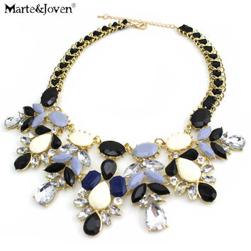 New Fashion Jewelry Water Drop Bib Shourouk Style Accessories Rope Chain Statement Choker Necklace For Woman