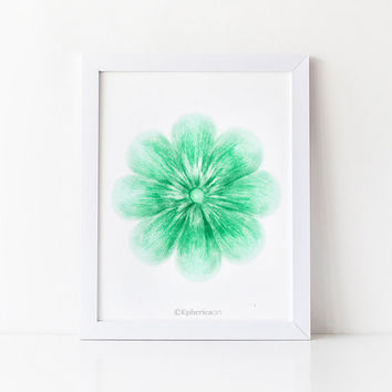 Emerald green flower art print, Green home decor wall art print, Flower wall decor, Bathroom art PRINTABLE decor, Green art Bathroom decor