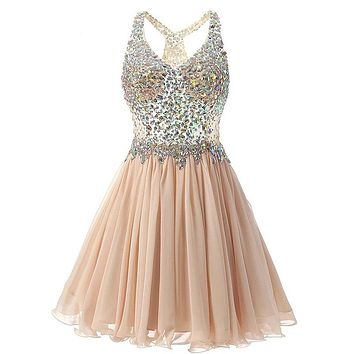 Sexy V Neck Short Cocktail Dresses Chiffon Pleat Ruffles Beaded Crystal Rhinestone Formal Party Dress Real Picture