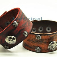 Rock Punk Style Real Leather Skull Bracelet Women Leather Cuff Bracelet, Men Bangle Cuff  Jewelry Bangle RC19