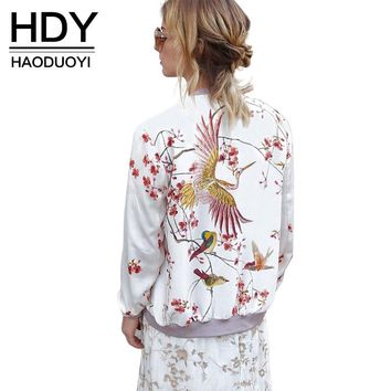 HDY Haoduoyi Phoenix Print White Bomber Jacket Exotic Stand Collar Zipper Pink Jacket Casual Loose Sweet Jacket