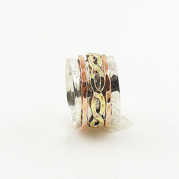 Spinner Ring - Three Tone Sprial Brass Infinite - keja jewelry