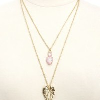 Pink Opal & Leaf Layered Pendant Necklace by Charlotte Russe - Gold