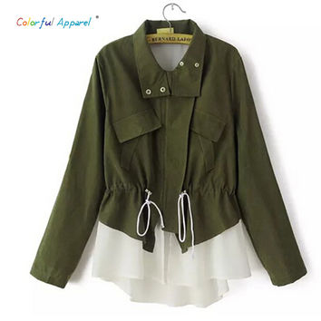 Colorful Apparel [B-1457]   new women casual jacket patchwork lace chiffon drawstring casual frock coat windbreaker