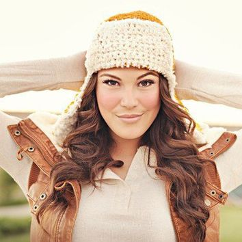 Bomber Ear Flap Hat lumberjack hat pilot hat yellow by Shanionie