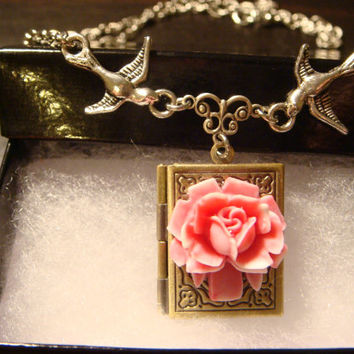 Pink and White Rose with Flying Birds Vintage Style Book locket Necklace (1143)