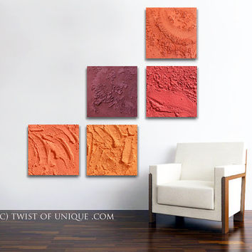 Concrete abstract wall art / 5 square  ORIGINAL ( 15 Inches x 15 Inches) / Industrial Concrete/ AcryliCrete/  Orange, Red, Maroon