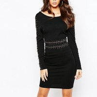 NaaNaa Lace Up Chain Detail Bodycon Dress at asos.com