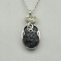 Japanese Writing Stone Necklace - Gemstone Jewelry - Wire Wrapped - Sterling Silver - Pendant