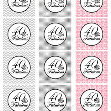 Printable 40 and Fabulous Black Gray & Pink Birthday Cupcake Toppers, Sticker Labels & Party Favor Tags