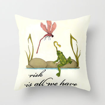 animal art- frog and dragonfly Throw Pillow by the greener pastures | Society6