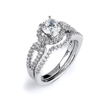 Sterling Silver Rhodium Plated and round Cubic Zirconia center stone Halo Split Shank Wedding Set