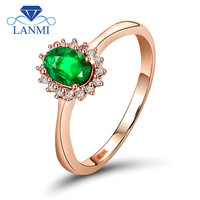 18k Rose Gold Natural Diamond Gemstone Jewelry Oval 4x6mm Engagement Emerald Ring WU0128