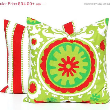 SALE Christmas Pillows, Holiday Pillows, Accent Pillows, Christmas Cushion Covers Holiday Decor Suzani and Stripe Pillow Covers All sizes