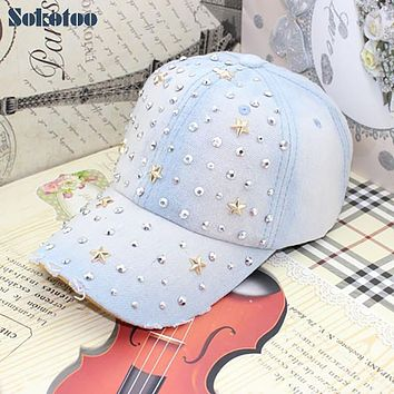 Sokotoo Women's fashion five point stars rhinestone baseball cap Lady's casual rivet denim hat Female Free shipping