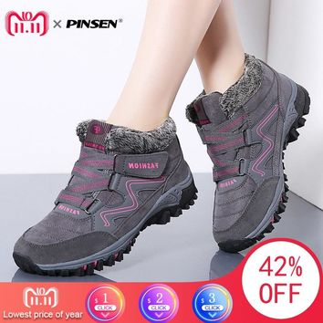 PINSEN 2018 Winter Women Snow Boots High Quality Leather Suede Warm Plush Warm Ankle Boots Women Waterproof Rain Boots Shoes