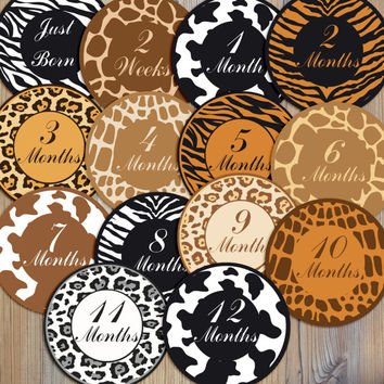 Instant Download - 14 Animal Print Cheetah Leopard Zebra Baby Girl Newborn Monthly Milestone Stickers and Iron On Printable DIY PDF Files