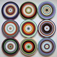 "Amy Giacomelli Paintings Art Sculpture wood circles Original - 9 piece large set ... ""Round the Bend"""