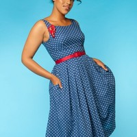 Isobel Dress in Navy Polka Dot