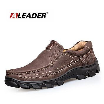 Genuine Leather Men Shoes Breathable Outdoor Creeper Oxford Shoes Casual Slip On Men Dress Shoes Waterproof Work