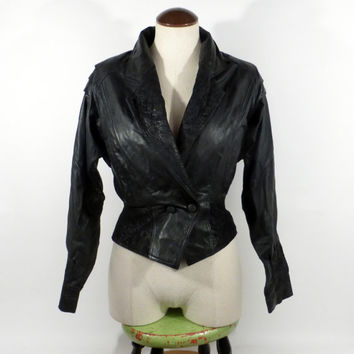 Chia Leather Jacket 1980s S Black Batwing