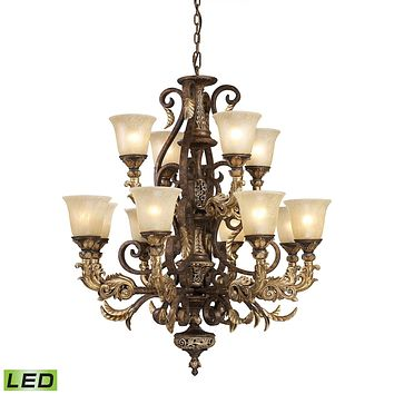 Regency 12-Light Chandelier in Burnt Bronze with Off-white Glass - Includes LED Bulbs