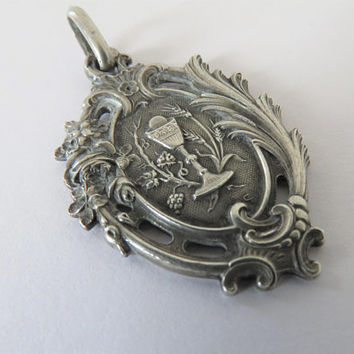 Antique French, First Communion, Silver, Pendant, SHIPPING INCLUDED