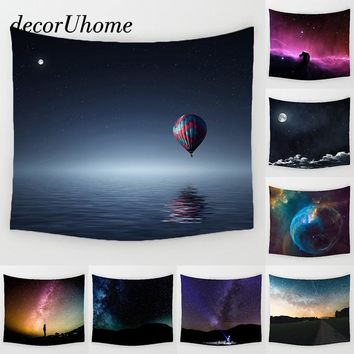 DecorUhome Star Sky Scenic Decoration Beach Round Towel Plant Space Wall Carpet Home Decor Hanging Living Printing Wall Tapestry