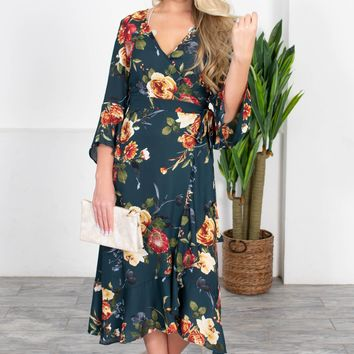 Emerald Floral Wrap Dress