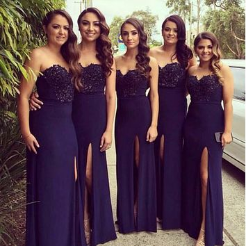 Sweetheart Lace Bodice bridesmaid dresses 2017 Long Sheath Chiffon Bridesmaid Dress With Side Slit For Wedding Party Prom Gown