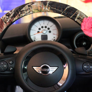 Camouflage Steering Wheel Cover with Shabby Pink Rose Mossy Oak Camo