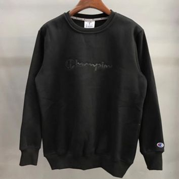 Champion Fashion Casual Embroider Long Sleeve Round Neck Pullover Sweater Black G