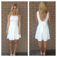 White Beaded & Bow Back Dress
