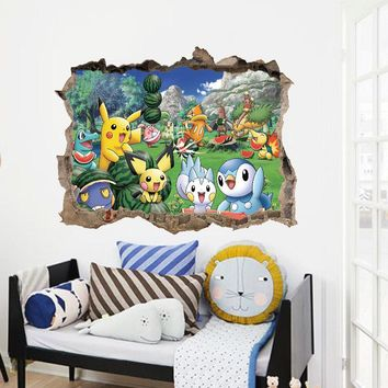 Cartoon Pikachu Pokemon Go Wall Stickers For Kids Rooms Wall Decals Poster Room Decoration Poster Nursery Kids Room Decals