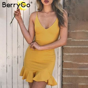BerryGo Sexy v neck ruffle strap mini dress women Skinny black mermaid short dress Bodycon summer dress party vestido 2018 new