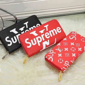 One-nice™ LV x Supreme Women Fashion Leather Print Purse Wallet