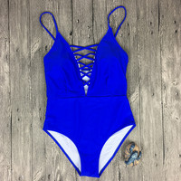 Blue Swimsuit Bikini Set Summer Swimwear