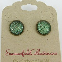 """Antiqued Gold-Tone Army Green Glitter Glass Stud Earrings 1/2"""" Round"""
